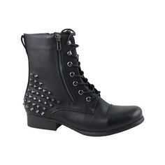 Women's Celebrity NYC Nala Combat Boot - Black Polyurethane Combat... (28.345 CLP) ❤ liked on Polyvore