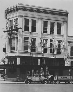 This early 1920's photo was taken on the north side of the public square. The building is of the Murfreesboro Bank and Trust Company. It was a three-story building. The bank was organized and chartered July 8, 1905. with a capital sock of $50,000.
