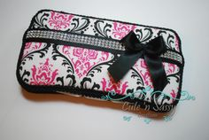 Boutique Baby Wipe Case - Hot Pink and Black Madison Damask Covered Wipes Case with Black Rhinestone Bow