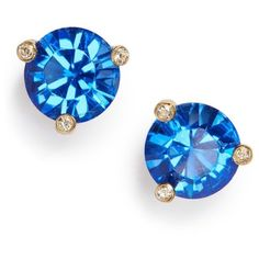 Women's Kate Spade New York 'Rise & Shine' Stud Earrings ($38) ❤ liked on Polyvore featuring jewelry, earrings, sapphire, stud earrings, sparkly earrings, earring jewelry, polish jewelry and kate spade