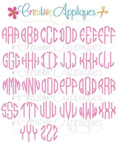 Embroidery Font natural circle embroidery font REPIN THIS then click here: www.creativeappliques.com