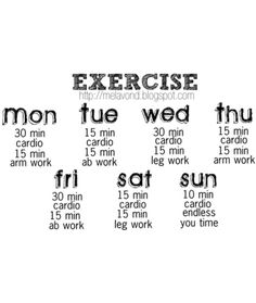 Exercise, week
