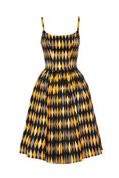 Pre-Order - Pinup Couture Jenny Dress in Yellow House Harlequin | Pinup Girl Clothing