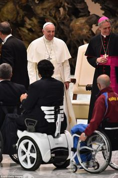 Pope Francis meets paralympic athletes as part of the Believe to be Alive event at the Vatican today, 4 October 2014.