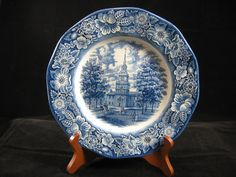Liberty Blue 9 7/8 inch Dinner Plate England Staffordshire Independence Hall by RuthiesCollectables on Etsy