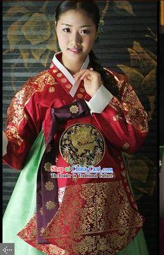 Supreme Korean Traditional Flowery Dress Hanbok Complete Set for Women