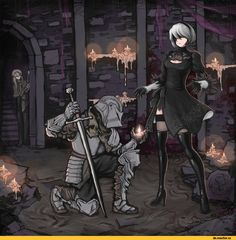 yorha unit no. 2 type b,Dark Souls,фэндомы,Fire keeper,DSIII персонажи,Dark Souls 3,Ashen One,crossover,NieR Automata