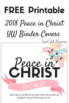 2018 LDS Mutual Theme Peace in Christ YW Binder Covers | FREE Printable #ldsmutual #ldsprintables #printable #freeprintable