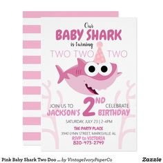 Pink Baby Shark Two Doo Birthday Party Invitation 2 Year Old Birthday Party Girl, 2nd Birthday Invitations, Girls Birthday Party Themes, Party Invitations Kids, Pink Invitations, Pink Birthday, Birthday Ideas, Baby Hai, Thing 1