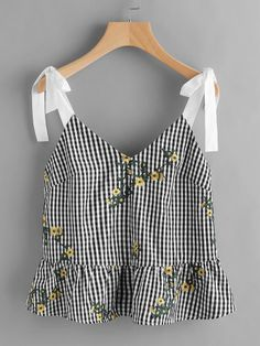 To find out about the Sash Tie Shoulder Blossom Embroidered Ruffle Gingham Top at SHEIN, part of our latest Tank Tops & Camis ready to shop online today! Summer Outfits, Casual Outfits, Cute Outfits, Fashion Outfits, Womens Fashion, Mode Top, Tee Dress, Mode Inspiration, Mode Style