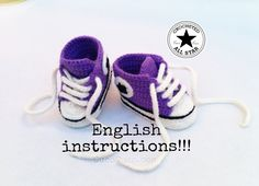 """Baby shoes """"Crocheted All Star"""" (English Instructions)"""