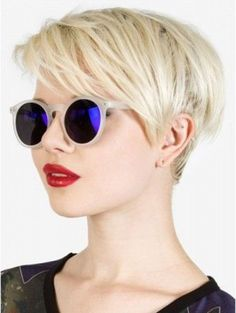 My hairdresser thinks I could pull off a platinum blonde pixie cut, so I was thinking of something a little bit like this (a full bang through the front and thick on top and almost shaved on the sides). Popular Short Hairstyles, Cute Hairstyles For Short Hair, Pixie Hairstyles, Short Hair Cuts, Straight Hairstyles, Short Hair Styles, Glasses Hairstyles, Short Bangs, Full Bangs