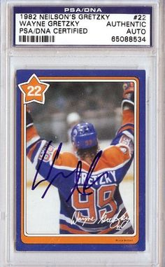Wayne Gretzky Autographed 1982 Neilson's Card PSA/DNA Slabbed #65088534 . $99.00. This is a hand signed Wayne Gretzky Autographed 1982 Neilson's Card. This item has been authenticated and slabbed by PSA/DNA.