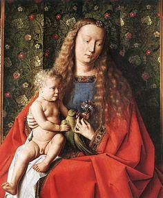 JAN VAN EYCK (1395-1441): The Madonna with Canon van der Paele (detail, 1436, Groeningemuseum, Bruges, Belgium)