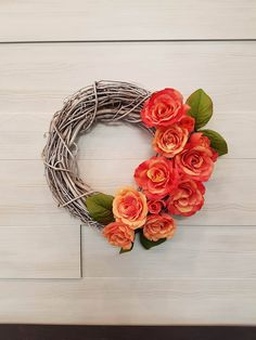 Grapevine Wreath with Flowers . Homemade Wreaths, Front Door Decor, Grapevine Wreath, Grape Vines, Roses, Spring, Flowers, Handmade, Hand Made