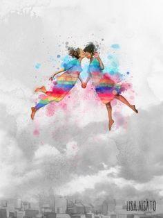 Luft og kjærlighet | Lisa Aisato - nettbutikk Norway, Watercolor Tattoo, Lisa, Abstract, Wallpaper, Artwork, Pictures, Painting, Inspiration