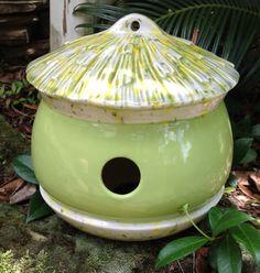 ceramic, bird house, acorn, green, garden, bird habitat, lime green, yard art by muddyme on Etsy