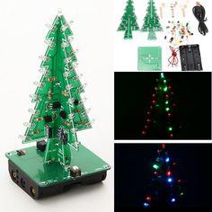 3Pcs Geekcreit® DIY Christmas Tree LED Flash Kit 3D Electronic Learning Kit