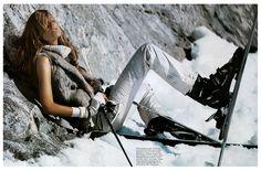 Morning Beauty | Iselin Steiro by Mikael Jansson Vintage Ski, Vintage Vogue, Ski Bunnies, Bunny, Vogue Paris, Ski Posters, Outdoor Pictures, Snow Girl, Ski Fashion