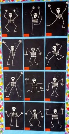 Our grade project was based off Skeleton Hiccups by Margery Cuyler. Stud… Our grade project was based off Skeleton Hiccups by Margery Cuyler. Students used cotton swabs to assemble skeletons in an action pos… Halloween Art Projects, Theme Halloween, Halloween Arts And Crafts, Fall Halloween, Halloween Crafts For Kindergarten, Preschool Halloween Crafts, Haloween Craft, Halloween Activities For Kids, Holiday Crafts