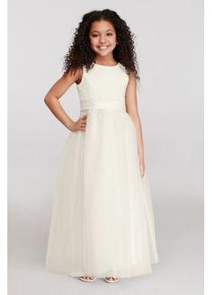 0fff906cb1e Satin Flower Girl Dress with Tulle Skirt S1038 - in Ivory - David s Bridal Kids  Bridesmaid