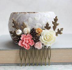 Coral Pink Bridal Hair Comb Earth Tone Woodland от apocketofposies