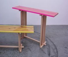 Japanese designer Jo Nagasaka of Sschemata Architecture Office presented this series called Shrine Flat-table - wooden tables with fluorescent resin encasing their gouged-out tops - at Spazio Rossana Orlandi in Milan. Architecture Panel, Architecture Office, Drawing Architecture, Chinese Architecture, Architecture Portfolio, Futuristic Architecture, Architecture Design, Wood Furniture, Furniture Design