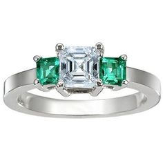 Platinum Three Stone Diamond and Emerald Ring, top view