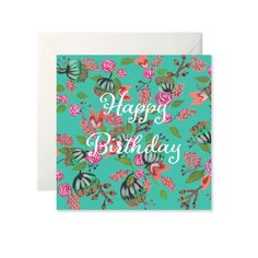 Birthday Card Floral Teal by Helen Magee Hairy Fruit Art Fruit Art, Gouache, Card Stock, Birthday Cards, Greeting Cards, Teal, Messages, Floral, Illustration