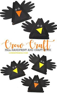 Craft Stick Handprint Crow Craft #fall #fallcraft #crowcraft #birdcraft #handprintcraft #kids #craft #kidscraft #kidcrafts Toddler Art Projects, Toddler Crafts, Projects For Kids, Kid Crafts, Preschool Christmas Crafts, Fall Crafts For Kids, Winter Craft, Scarecrow Crafts, Halloween Crafts