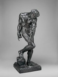 Adam  Artist:Auguste Rodin (French, Paris 1840–1917 Meudon) Date:modeled 1880 or 1881, cast 1910 Culture:French, Paris Medium:Bronze Dimensions:Overall (confirmed): H. 76 3/8 x W. 30 3/8 x D. 32 1/2 in.  Rodin was strongly influenced by the work of Michelangelo.  The direct experience of the Renaissance master's art, both in the course of his Italian travels in 1875- 76 and in the Musée du Louvre in Paris, seems to have unlocked for Rodin many of the secrets of Michelangelo's modeling