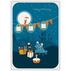 Tolle Kinder Geburtstagskarte mit Sommernachts Party: Happy Birthday!