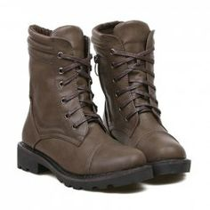 Vintage Women's Combat Boots With Solid Color and Zipper Design