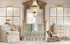 This is exactly how my Little man's nursery will look!! I love this, the bed is gorgeous & the furniture is beautiful. Decided to paint the walls grey. Restoration Hardware