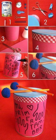 yogurt-kovasindan-oyuncak-davul-yapmak Joghurt-the-Eimer-Trommel-Spielzeug machen Projects For Kids, Diy For Kids, Crafts For Kids, Tin Can Crafts, Diy And Crafts, Infant Activities, Activities For Kids, Instrument Craft, Homemade Instruments