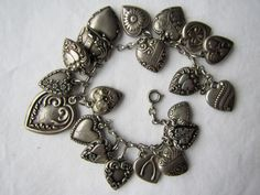 Gorgeous Vintage Sterling Silver Repousse Puffy Heart Charm Bracelet 20 Hearts | eBay