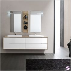 Badmöbel für Familien Set Coron - SEBASTIAN e.K. - In dem Waschtisch versenkt sind die zwei charakteristischen Waschbecken – ein auffallendes Highlight dieses Badmöbelsets. #einrichtung Coron, Wall Mounted Vanity, Bad Inspiration, Diy Vanity, Vanity Units, Double Vanity, Future House, Interior, Vanities