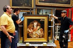 Rossetti's Monna Vanna, being prepared for our exhibition at Tate Britain   http://www.tate.org.uk/whats-on/tate-britain/exhibition/pre-raphaelites-victorian-avant-garde