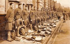 The London Scottish Regiment kit inspection in Rothes Road, Dorking, 1916.