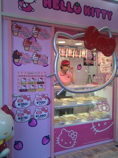 Hello Kitty Ice cream Shop in Japan. I should just move to Japan. Hello Kitty Items, Sanrio Hello Kitty, Hello Kitty House, Japanese Snacks, Cute Japanese, Japanese Candy, Food Kawaii, Desu Desu, Kitty Cafe