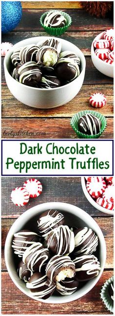These Dark Chocolate Peppermint Truffles are a delicious guilty pleasure. A luscious combination of decadent chocolate and brisk peppermint. via @berlyskitchen