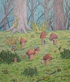 Relocation of mushroom peoples, me, watercolor and ink, 2020