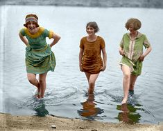 Girls gone Wild! Three models from Washington's spring fashion show snapped at Arlington Beach, May 7, 1924. National Photo Company glass negative (originally black & white).