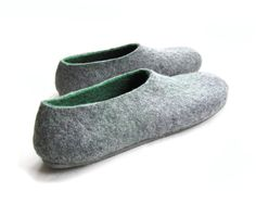 Woodland. Felt House Shoes Grey Green with Grey Sole. Gifts for Men. Gifts for Him. Fathers Day Gift