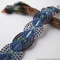 Beaded macrame bracelet Dark Blue Gasoline color by MartaJewelryMicro macrame knotted bracelet Dark blue by MartaJewelry on Etsy. Gorgeous work and if you are familiar with macrame, it isn't difficult to figure this out to work up your own pattern an Macrame Necklace, Macrame Jewelry, Macrame Bracelets, Knotted Bracelet, Loom Bracelets, Macrame Design, Macrame Art, Macrame Knots, Craft Jewelry