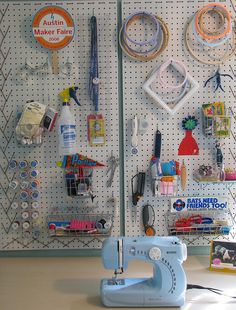 peg board ideas. Going to have to put some behind my machines. Do Julie Child style outlines so I don't  lose my tools!