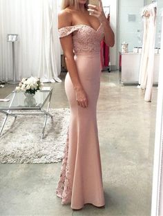 f99554016 Off-The-Shoulder Floor-Length Sleeveless Trumpet Mermaid Evening Dress.  Vestidos ...