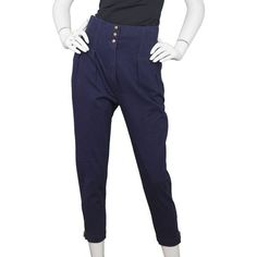 Pre-Owned Alaia Navy Cotton High-Rise Cropped Pants Sz us10 ($265) ❤ liked on Polyvore featuring pants, capris, blue, high waisted cropped pants, high-waisted trousers, blue pants, high rise pants and zipper pocket pants