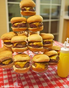 16 Menu Ideas for Your House Party This Summer. We love the way this chef displayed their cheeseburger sliders.