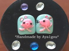 Octopus nails, kawaii nails, toe nails,  mint nails, squid, whimsical, unique nail, 3D nail,  tentacle, nautical, Japanese nail, animal nail(Etsy のAya1gouより) https://www.etsy.com/jp/listing/73430575/octopus-nails-kawaii-nails-toe-nails